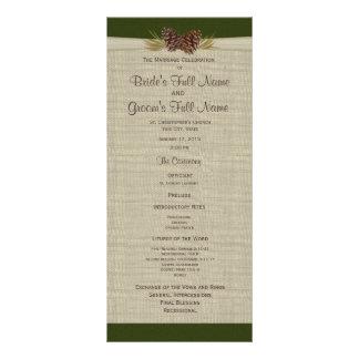 Pine Cones and Burlap Green Wedding Program Rack Cards