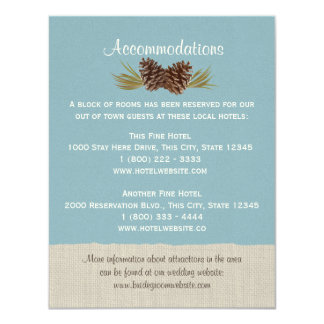 Pine Cones and Burlap Info Card Blue