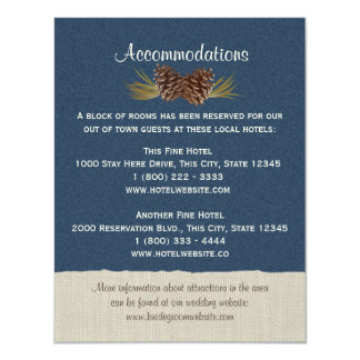 Pine Cones and Burlap Info Card Navy Blue