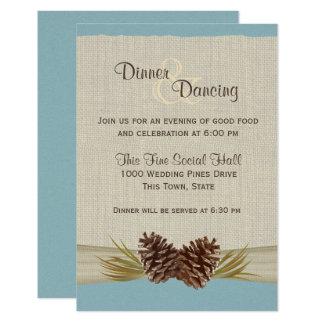 Pine Cones and Burlap Winter Blue Reception Card