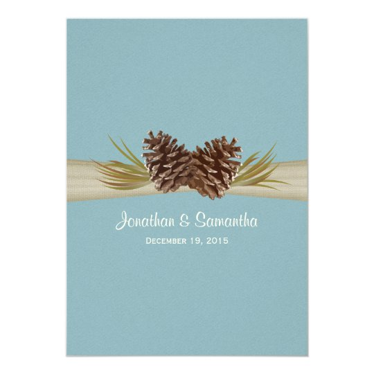 Pine Cones and Burlap Winter Blue Wedding Card