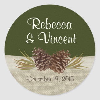 Pine Cones and Burlap Woodland Green Round Sticker