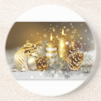 Pine Cones and Christmas Candles Coaster
