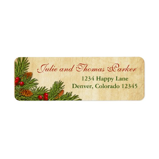 Pine Cones and Holly Berries Return Address Label