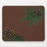 Pine Cones and Leather Mousepad