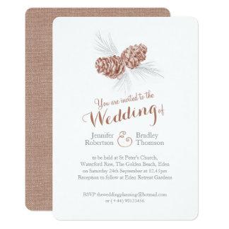 Pine cones art brown grey winter wedding invites