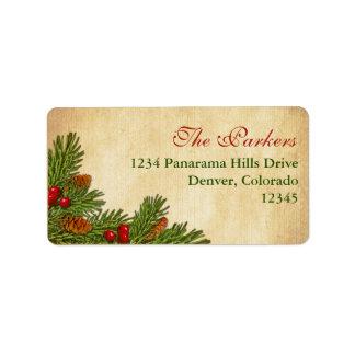 Pine Cones Holly Berries Return Address Label