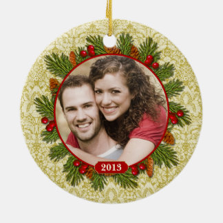 Pine Cones Holly Lace Family Photo Christmas Round Ceramic Decoration