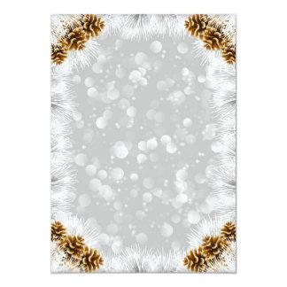 Pine cones in snow 13 cm x 18 cm invitation card