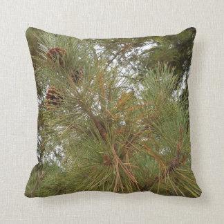 Pine Cones on Tree Between Redwood Trees Throw Cushion