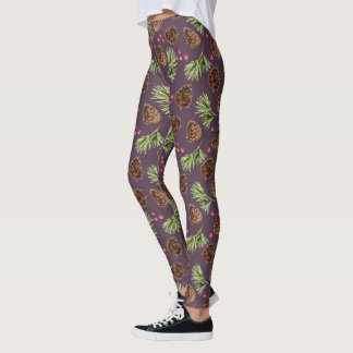 Pine Cones, Pine Branches and Berries Pattern Leggings
