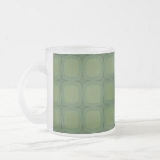 Pine & Fir Green Retor Squares Stars Frosted Glass Mug