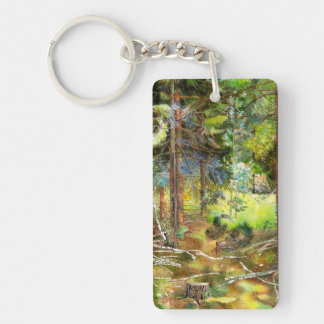 Pine forest Double-Sided rectangular acrylic key ring