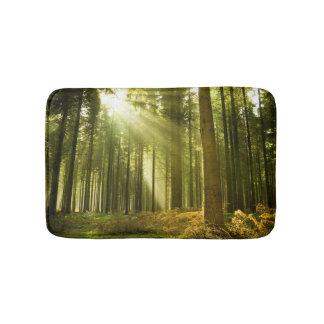 Pine forest with sun shining bath mats