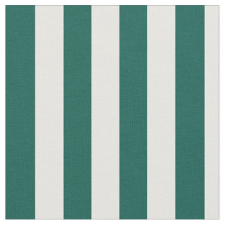 Pine Green and White Vertical Stripes Fabric