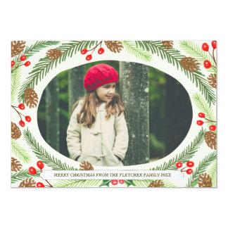Pine & Holly Christmas Photo Cards 13 Cm X 18 Cm Invitation Card