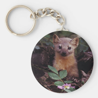 Pine Marten Basic Round Button Key Ring