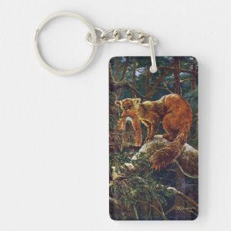 Pine Marten with Prey Single-Sided Rectangular Acrylic Keychain