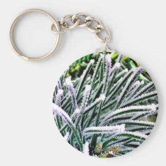 pine needles basic round button key ring