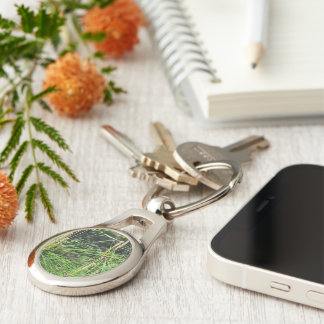 Pine Needles Silver-Colored Oval Key Ring