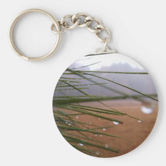Pine needles with dewdrop tips key chain
