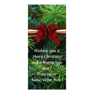 Pine/Red Bow Elegant Imprinted Business Christmas Custom Rack Cards