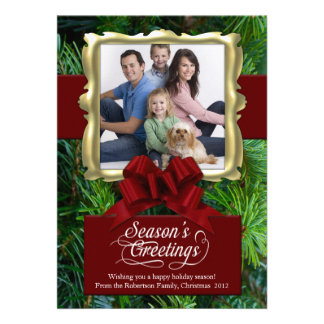 Pine Red Gold Frame Photo Holiday Card