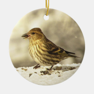 Pine Siskin Christmas Ornament