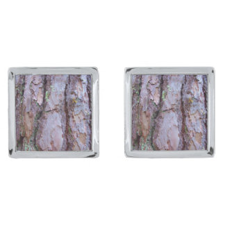 Pine Tree Bark Cufflinks Silver Finish Cuff Links