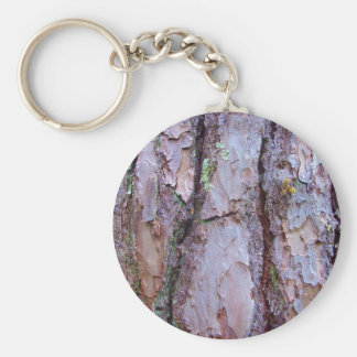 Pine Tree Bark Key Ring Basic Round Button Key Ring