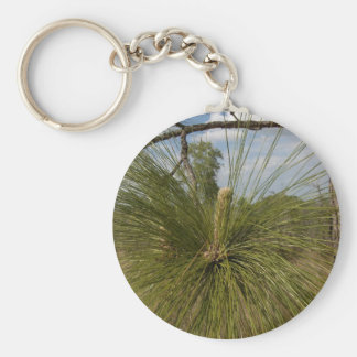 Pine Tree Basic Round Button Key Ring