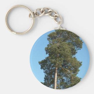 Pine Tree Basic Round Button Key Ring