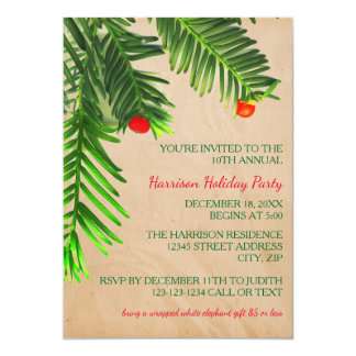 Pine Tree Branch - Christmas Party Invitation