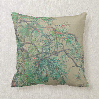 """""""Pine-tree branch"""", pastel drawing in green tones Cushion"""