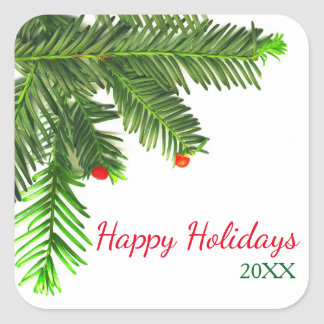 Pine Tree Branch - Square Sticker