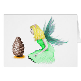 Pine Tree Fairy with pine cone Card
