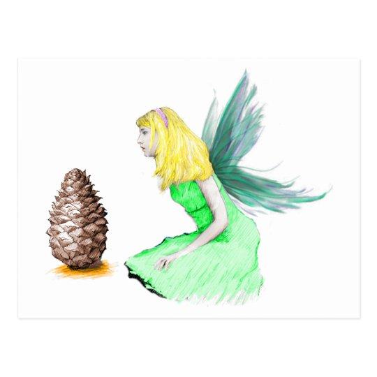 Pine Tree Fairy with pine cone Postcard