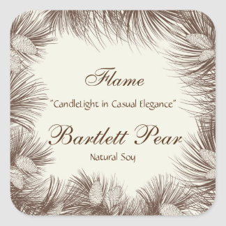 Pine Tree Graphic Candle Label Square Sticker