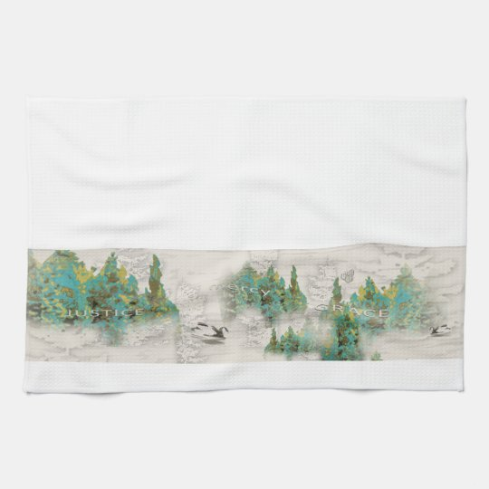 Pine Tree Justice Mercy Grace Kitchen Towel
