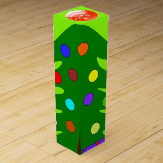 Pine Tree & Orange Ornament Green Wine Box