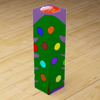 Pine Tree & Orange Ornament Purple Wine Box