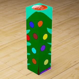 Pine Tree & Orange Ornament Turqouise Wine Box