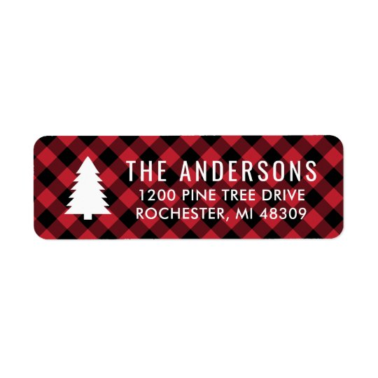 Pine Tree Return Address | Red Buffalo Plaid Return Address Label
