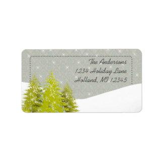Pine Tree Snow Gray Damask Return Address Label
