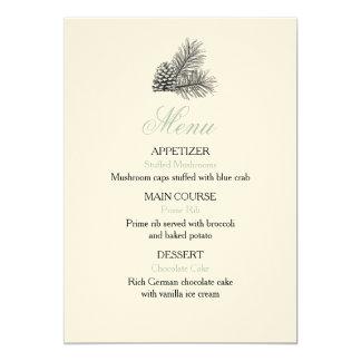 Pine Tree Wedding Menu - Rustic Card