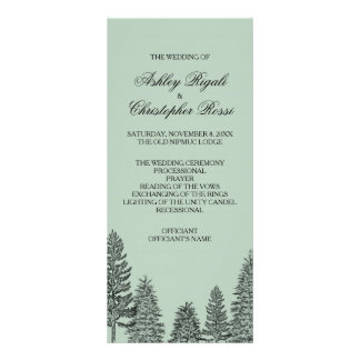 Pine Tree Wedding Program - Green Rack Card