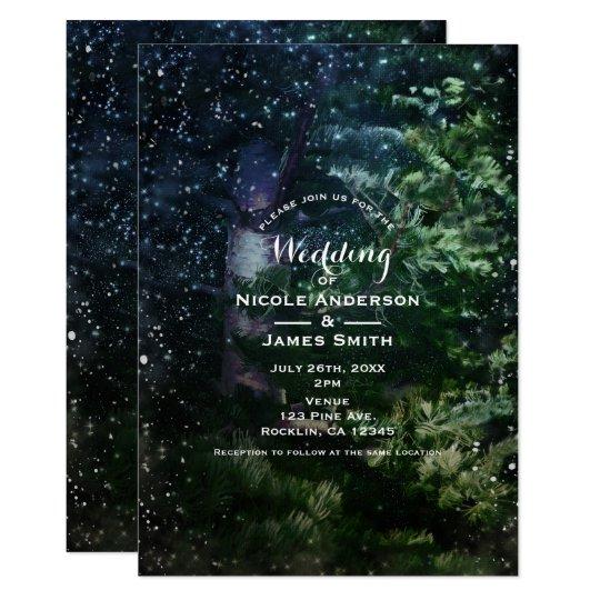 Pine Tree Winter Night Forest Wedding Invitations
