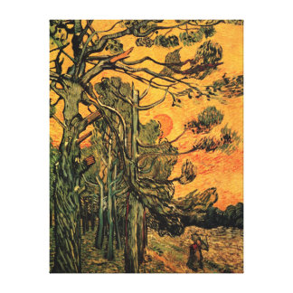 Pine Trees Against a Red Sky Stretched Canvas Print