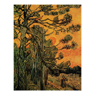 Pine Trees Against a Red Sky Poster