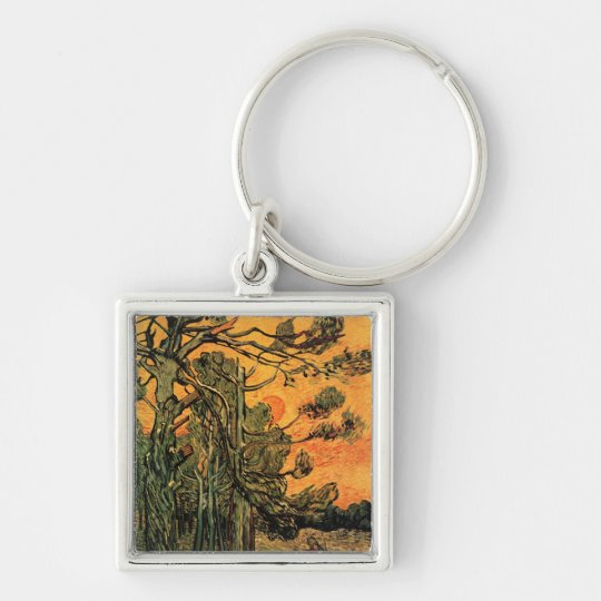 Pine Trees Against a Red Sky Silver-Colored Square Key Ring